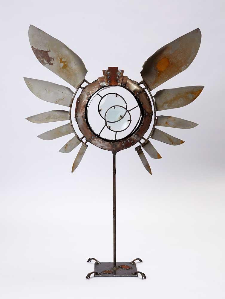 winged steel sculpture