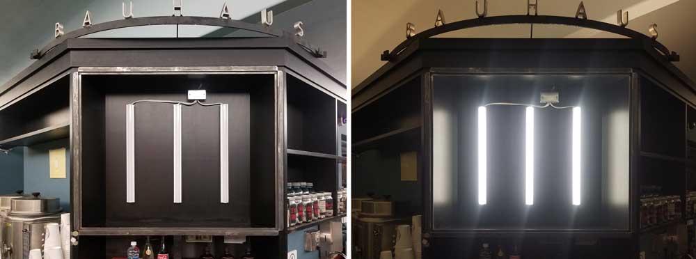 steel-framed lightbox case