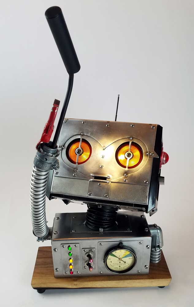 toaster-headed robot reaching up in wonder