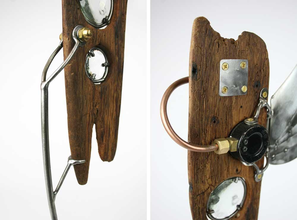 driftwood, steel, lenses