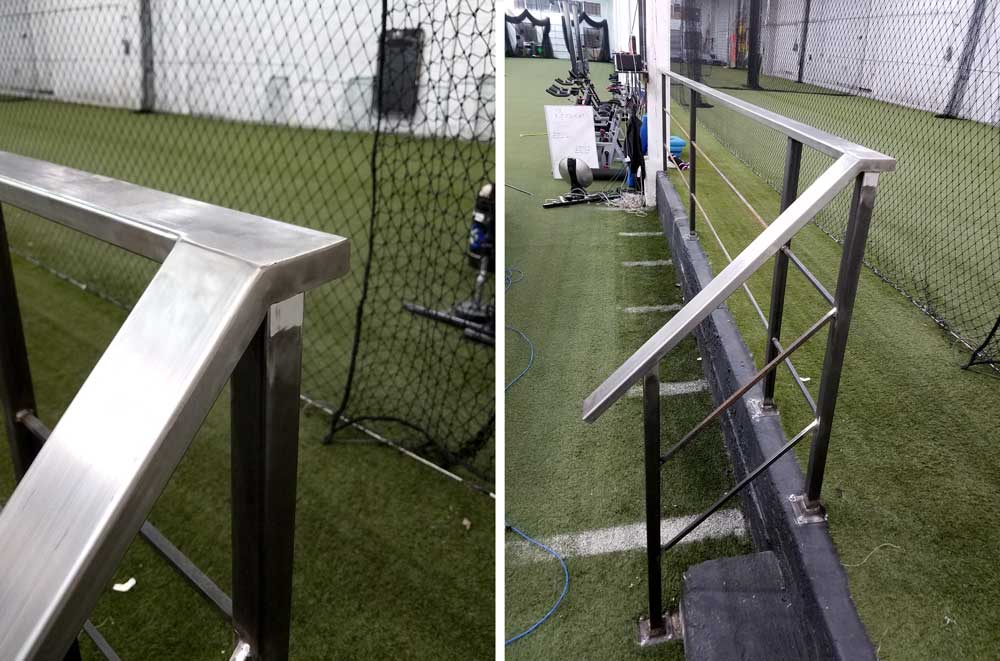 steel railing in a warehouse gym