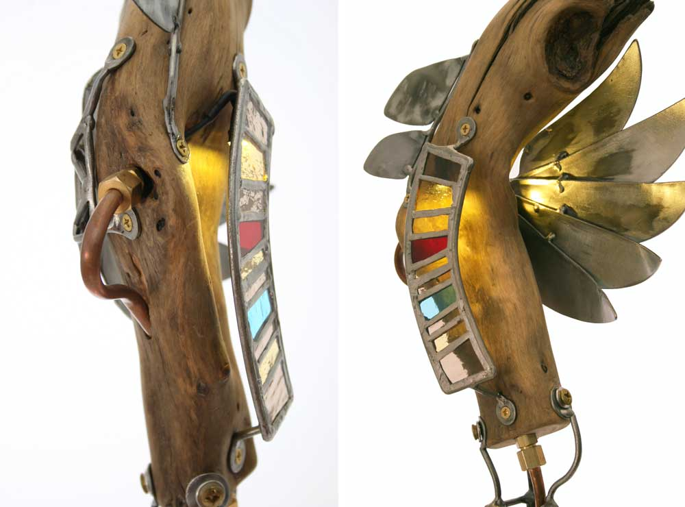 driftwood, steel, stained glass